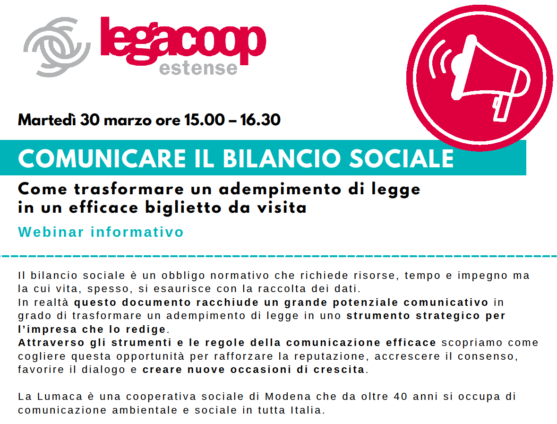 Legacoop Estense e La Lumaca presentano: Comunicare il Bilancio Sociale