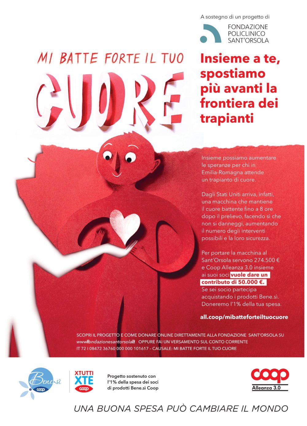 """Nelle Coop di Modena e Ferrara l'iniziativa """"mi batte forte il tuo cuore!"""" della Fondazione Policlinico Sant'Orsola"""