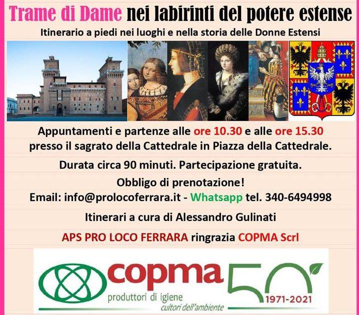 """A Ferrara domenica 7 marzo """"Trame di Dame"""", con il contributo di Copma"""