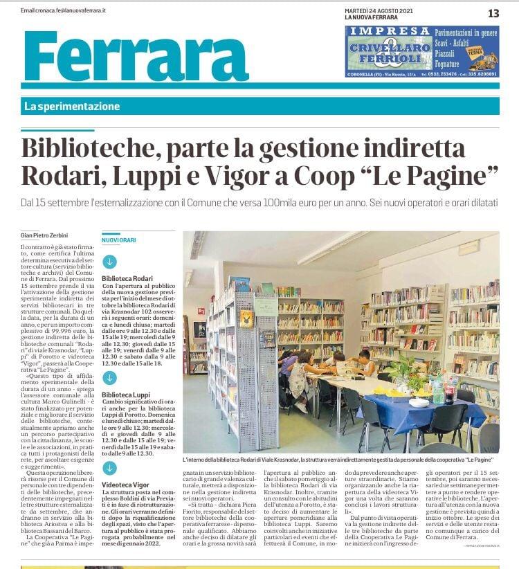 Le Pagine gestirà a Ferrara 3 biblioteche comunali
