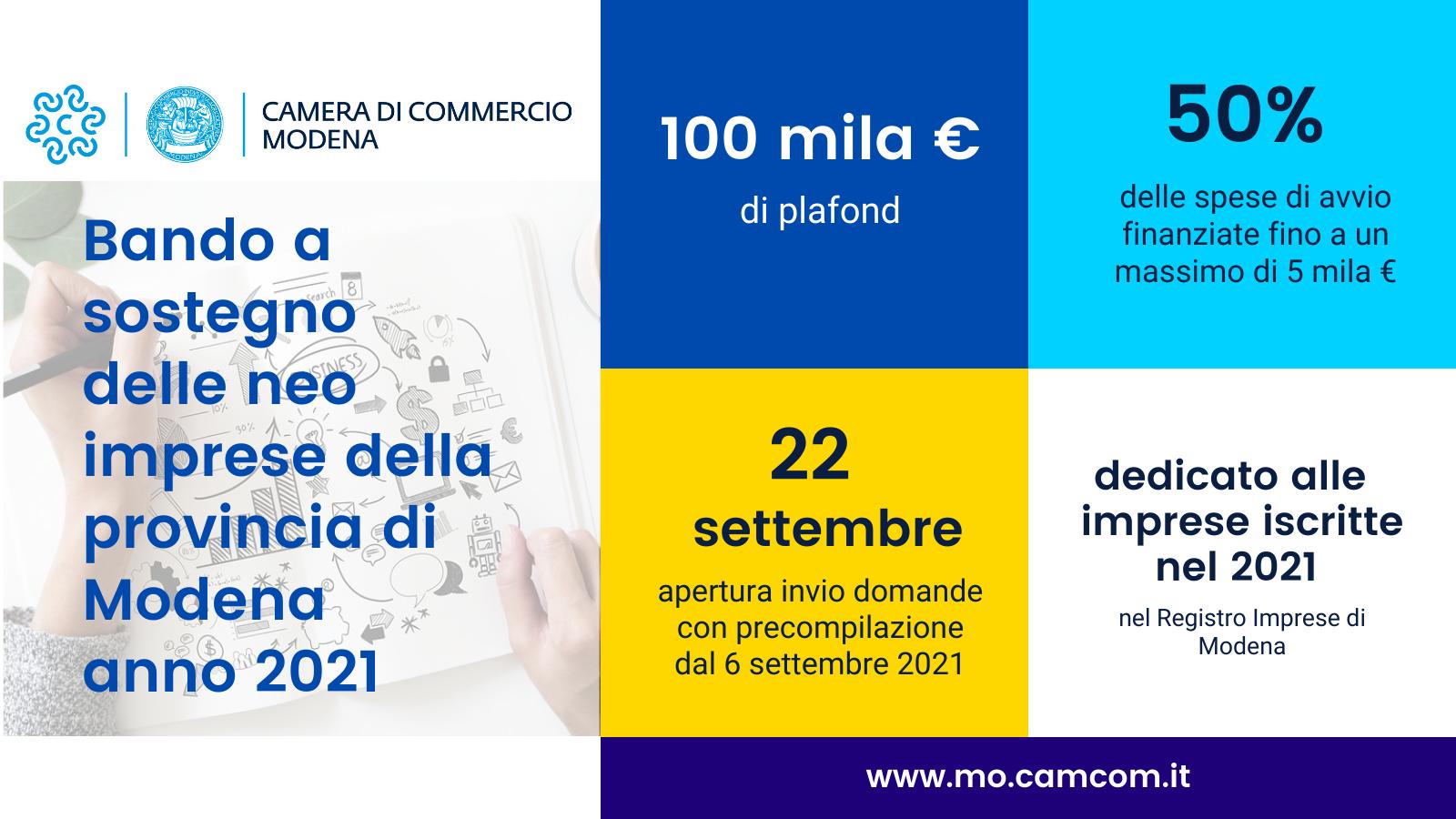 """Al via il """"Bando a sostegno delle neo-imprese modenesi – Anno 2021"""" – Comunicato stampa da Camera di Commercio di Modena"""