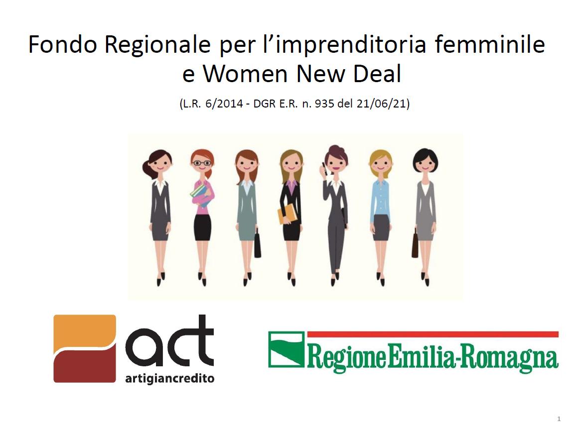 Regione Emilia Romagna, Fondo per l'imprenditoria femminile. Domande dal 13 settembre 2021