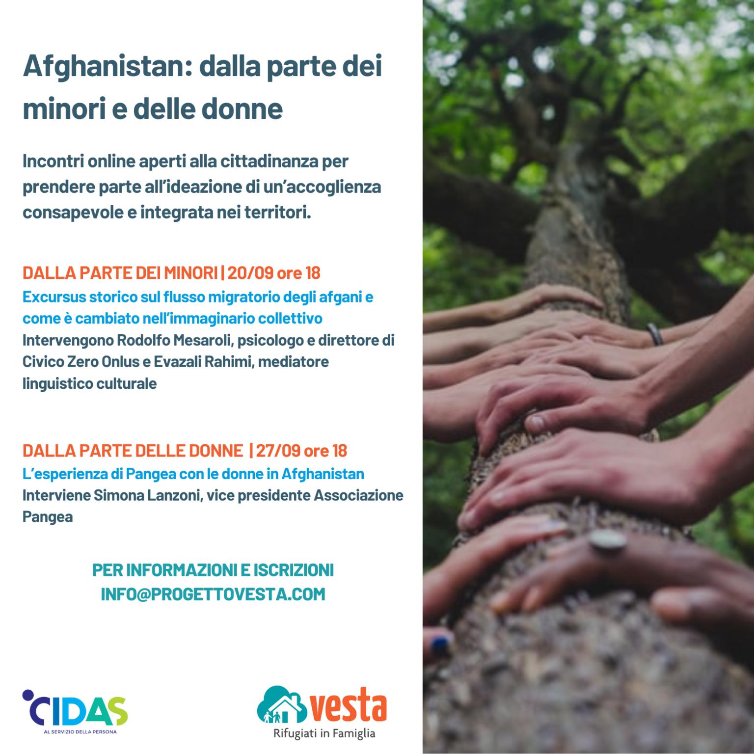Afghanistan: due incontri aperti alla cittadinanza promossi da CIDAS