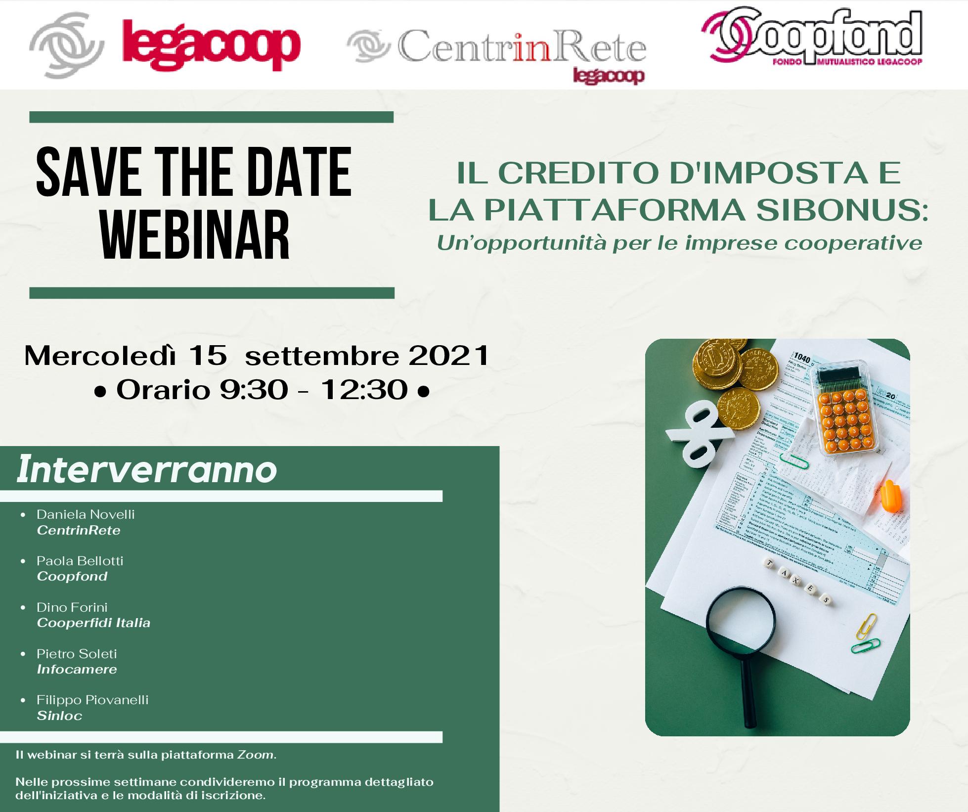 Save the date 15 settembre: Webinar Credito d'imposta