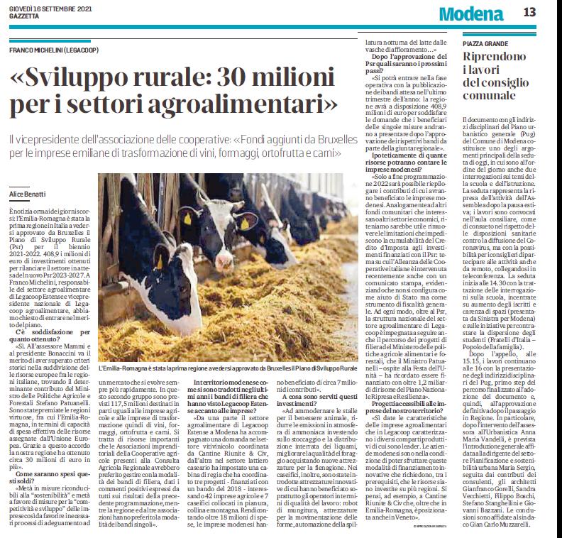 Franco Michelini: «Sviluppo rurale: 30 milioni per i settori agroalimentari»